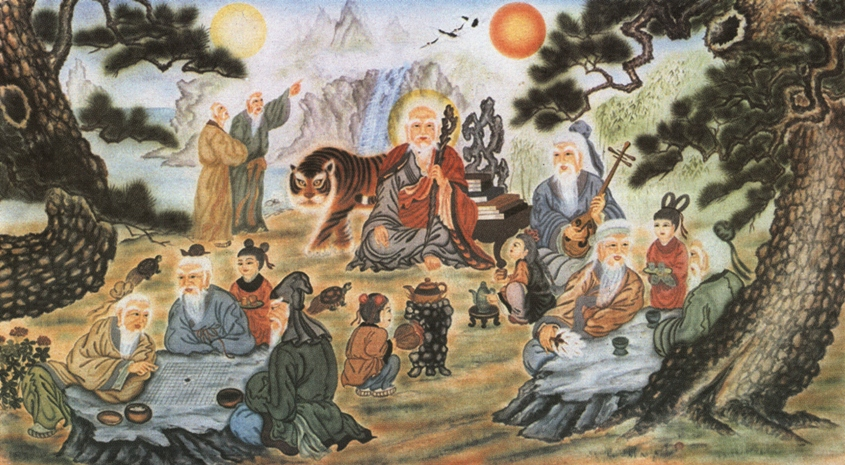 Korean Mountain God with 8 Daoist Immortals (from san-shin.org)